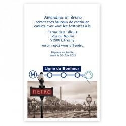 Invitation au repas thème Paris métro