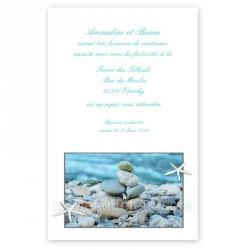 Invitation au repas thème mer et galets