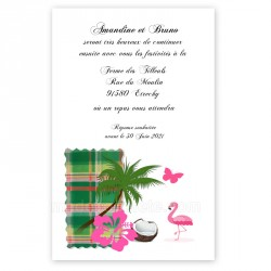 Invitation repas madras vert flamant rose