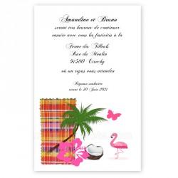 Invitation repas madras rouge flamant rose