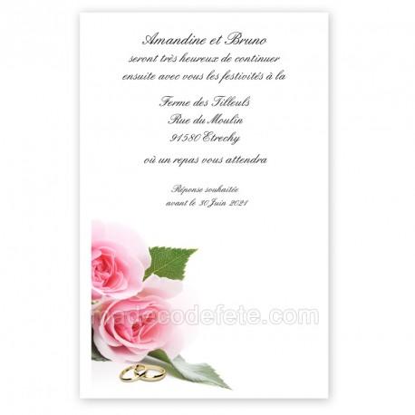 Invitation repas alliances mariage chic imprimé