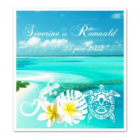 Faire-part Polynésie bleue