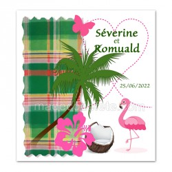Faire-part flamant rose madras vert