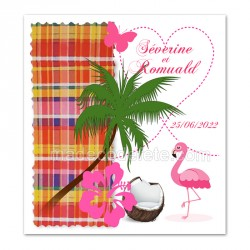Faire-part flamant rose madras rouge