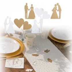 Décos bois coeurs et mariés x 18