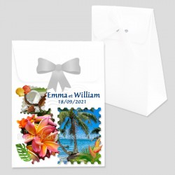 Boîte dragées timbre tropical