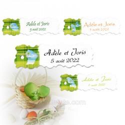 10 étiquettes madras vert carte