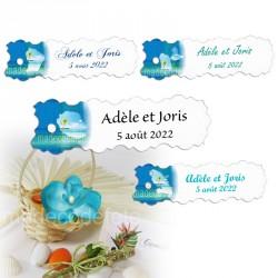 10 étiquettes madras bleu carte