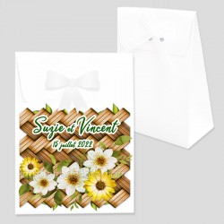 Boîte dragées bambou fleurs personnalisé
