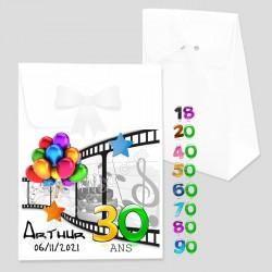 Cadeau invité anniversaire âge couleur