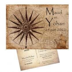 Faire-part carte postale sur le voyage
