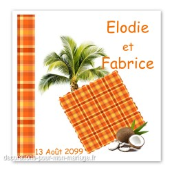 Faire-part mariage madras orange