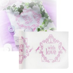 Chemin de table rose vintage white love