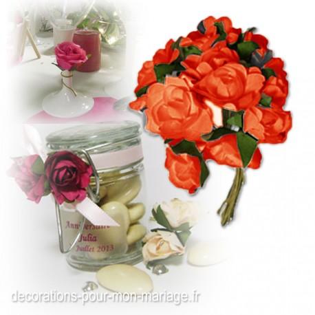 12 roses décos orange