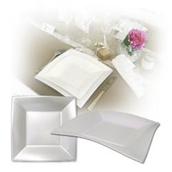 Assiette design jetable grande blanche nacrée 23 cm