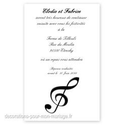 Invitation repas note de musique