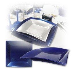 Assiette design jetable grande bleu marine 23 cm