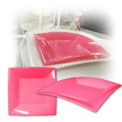 Assiette design jetable grande rose fuchsia 23 cm