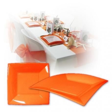 Assiette design jetable grande orange 23 cm