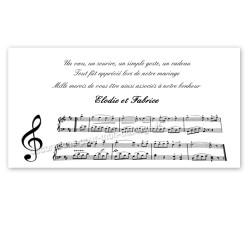 Carton remerciement partition musique