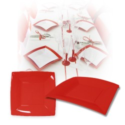 Assiette design jetable grande rouge 23 cm