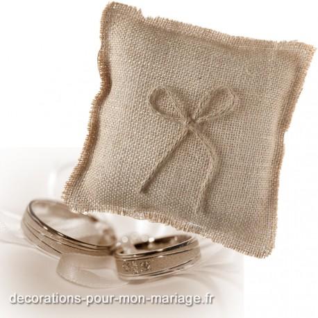 Coussin jute pour alliances de mariage