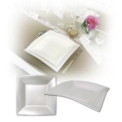 Assiette design jetable petite blanche nacrée 18 cm