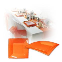 Assiette design jetable petite orange 18 cm