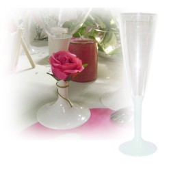 flute champagne jetable pied blanc