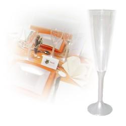 flute champagne jetable pied blanc nacré