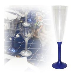 20 flutes champagne jetables bleu marine
