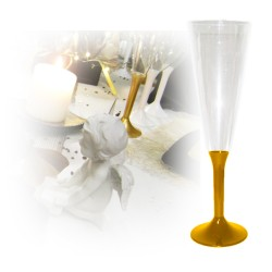flutes champagne jetable or