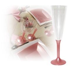 flute champagne jetable rose nacre
