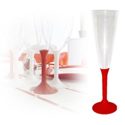 Flute-champagne-jetable-rouge