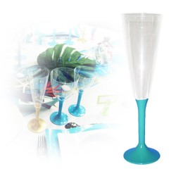 Flute champagne jetable turquoise