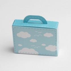 Valise baptême dragées nuage bleu