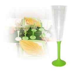 Flute champagne jetable vert anis