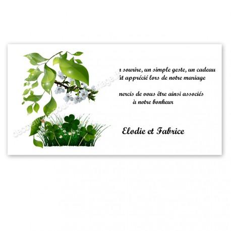 Carton remerciement Nature