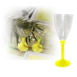 verre à vin jetable pied jaune