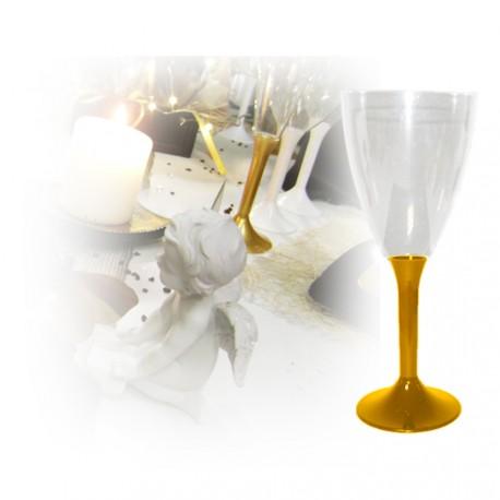 verre à vin jetable or
