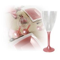 Verre à vin jetable rose nacre