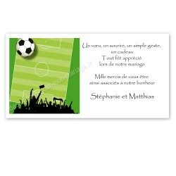 Carton remerciement thème football
