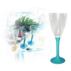 Verre à vin jetable bleu turquoise