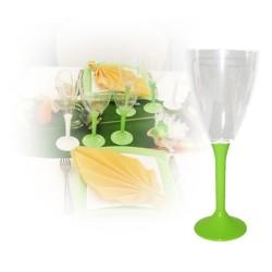 Verre à vin jetable vert anis
