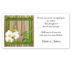 Carton remerciement bambou orchidée
