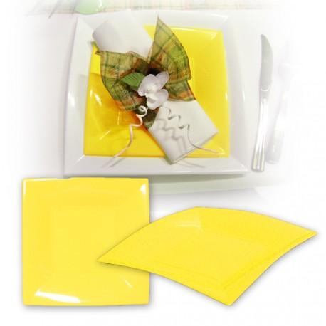 Assiette design jetable grande jaune 23 cm