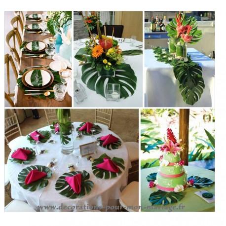 décoration de table avec un set de table feuille des îles