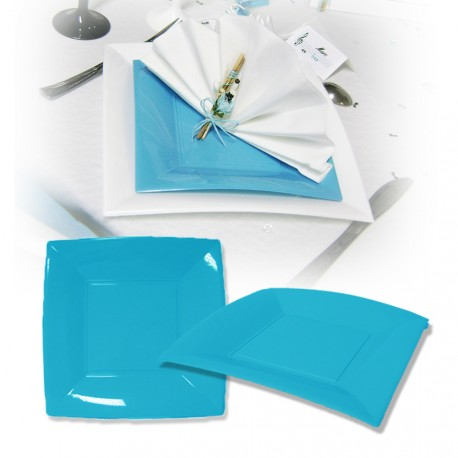 Assiette design jetable grande turquoise 23 cm