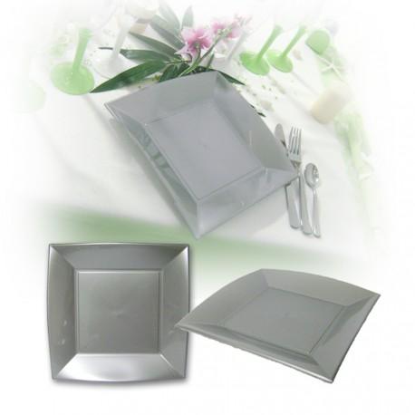 Assiette design jetable petite grise 18 cm
