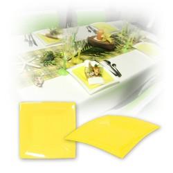 Assiette design jetable petite jaune 18 cm